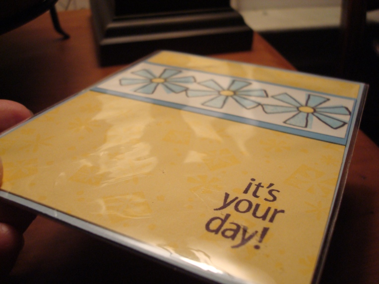 Sweet card in a cellophane envelope