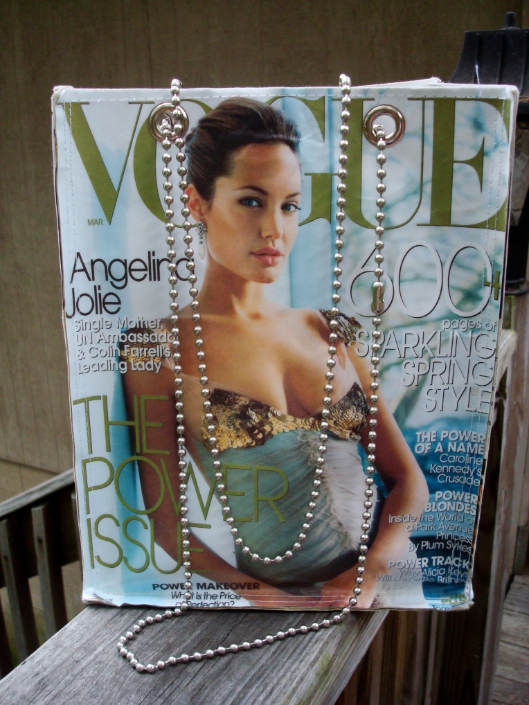 Angelina Jolie on my Vogue magazine hand bag
