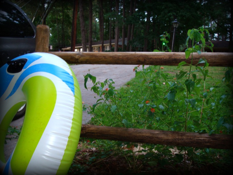 a float awaiting transportation to play in the fun water at our neighborhood pool