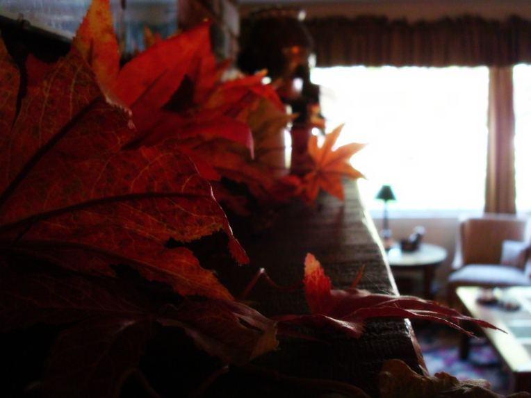 My mantle ... sprinkled with fall beauty