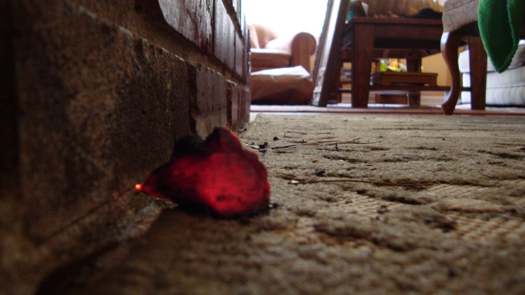A hot ember melting its way into the carpet that protects the floor in front of my fireplace.
