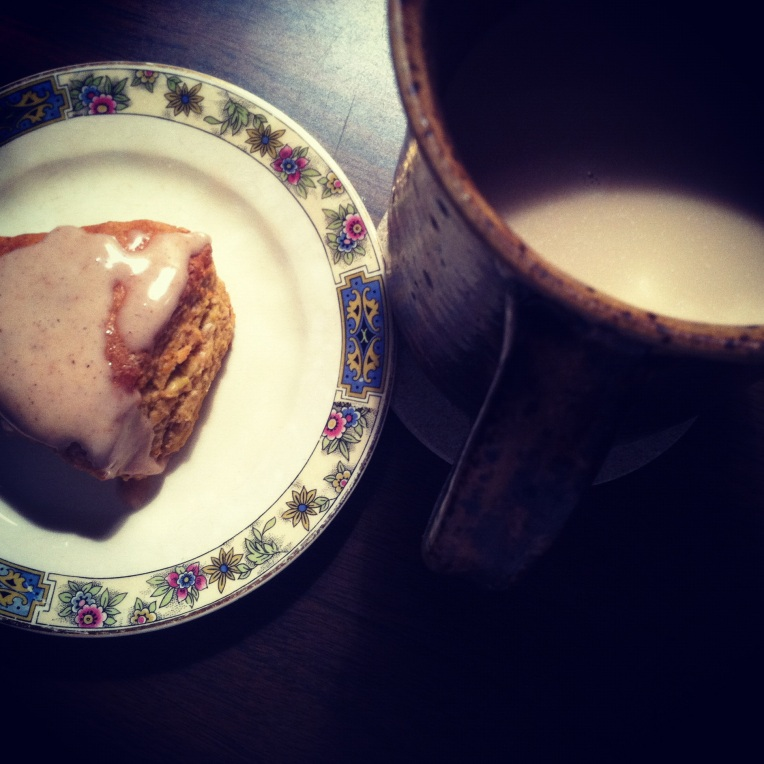 A homemade replica of a Starbucks Pumpkin Scone and my awesome pottery coffee mug