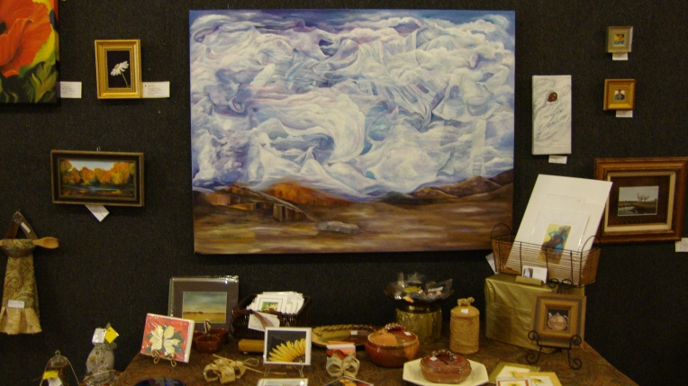 One or Margaret's pieces (the large landscape with clouds)