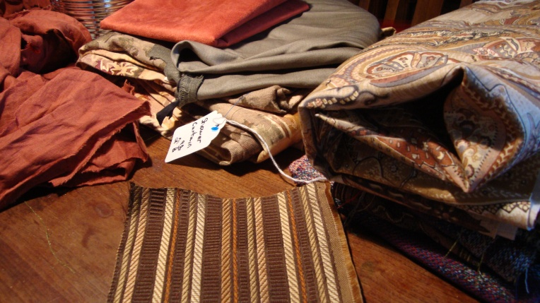 A table of fabric pieces