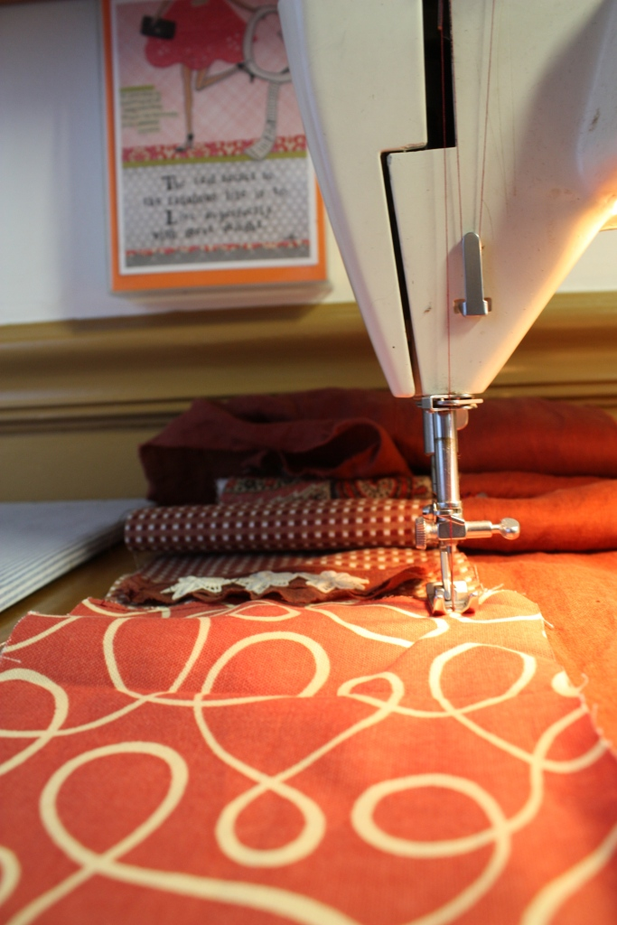 Working fabric pieces together for Bohemian quilted rag strip curtains
