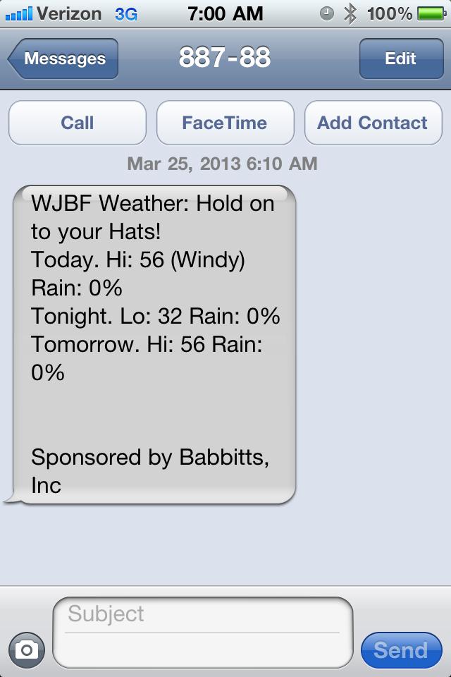 WJBF Weather Report