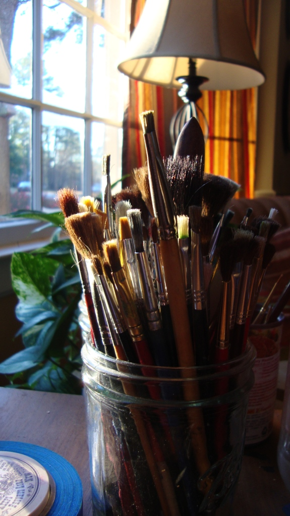 brushes beside my easel
