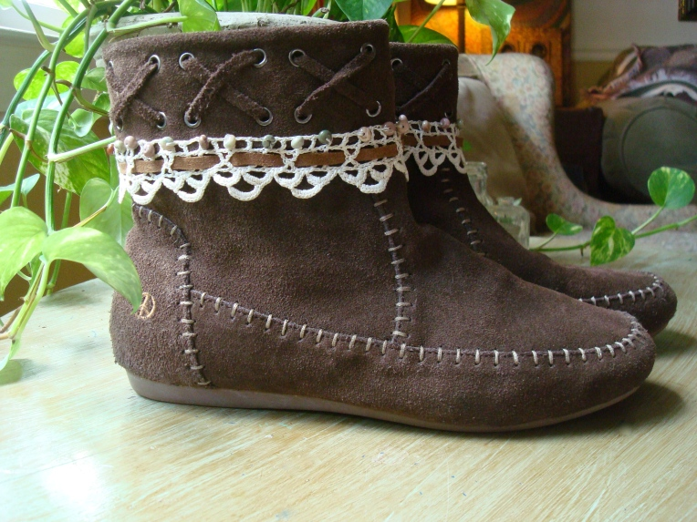 Altered reinvented upcycled moccasin boots