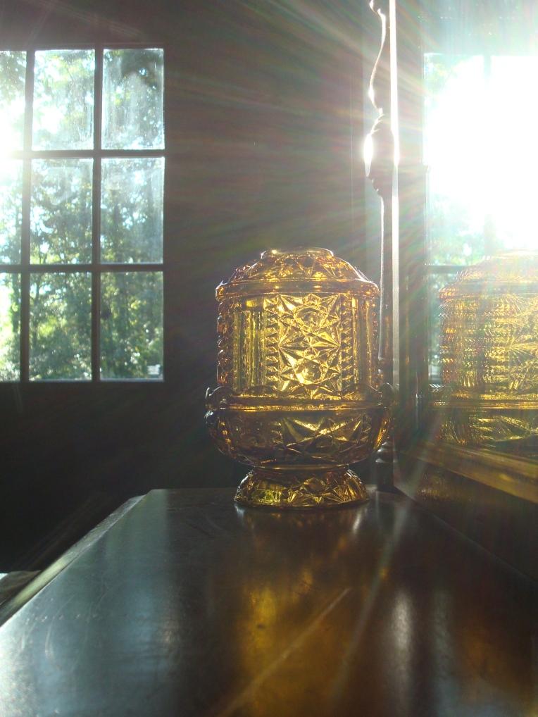 Vintage Amber Candle Vase