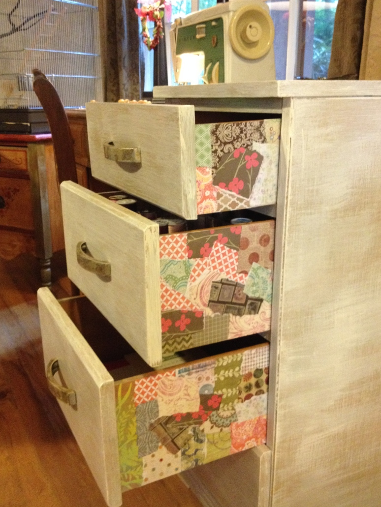 Decoupaged drawer edges