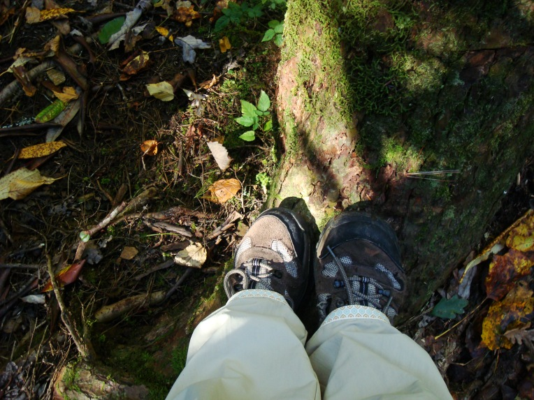My hiking boots and altered pants hem