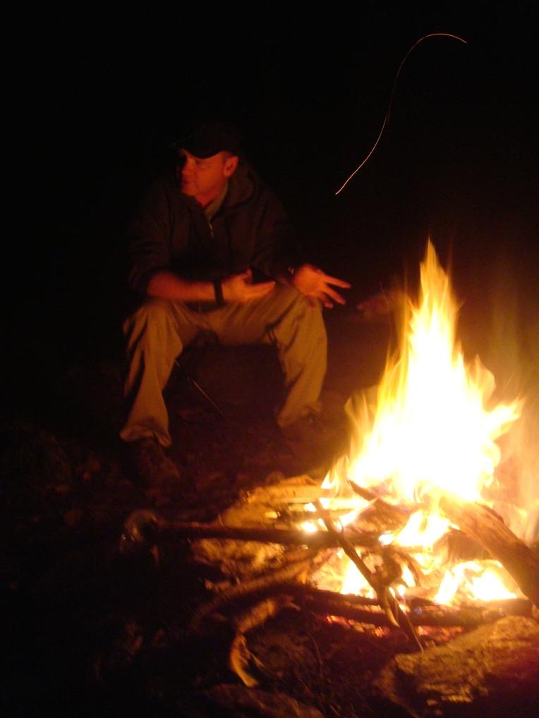 A little fire to keep us warm after sundown