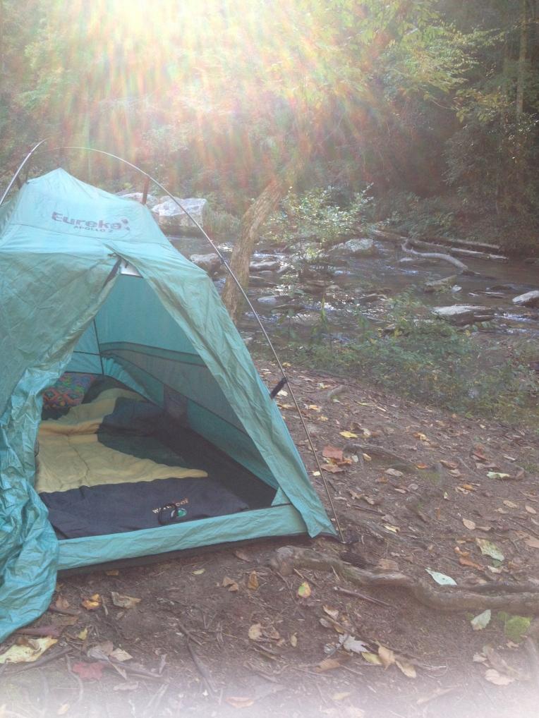 My tent beside Panther Creek, Clarkesville, GA