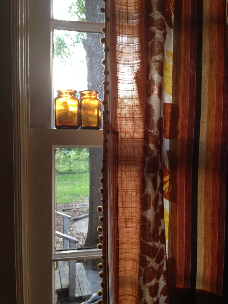 "My ""Magpie"" curtains - with bits and pieces of different fabrics, joined to create an eclectic beauty"