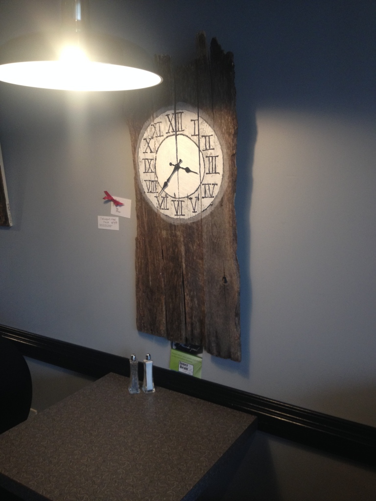Salvaged wood clock