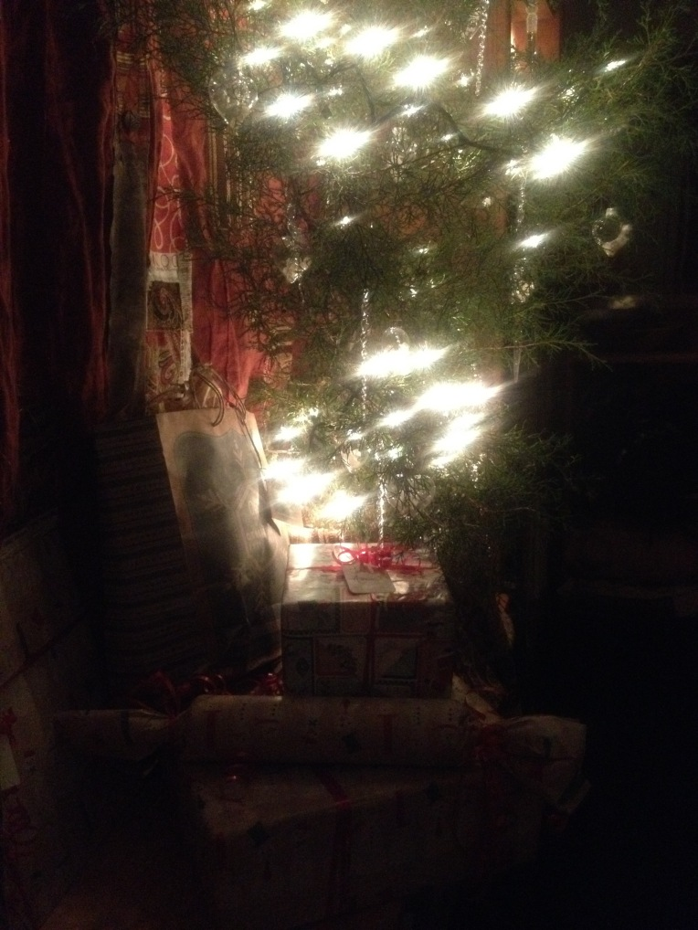 Our sweet little tree with a few, carefully chosen gifts beneath