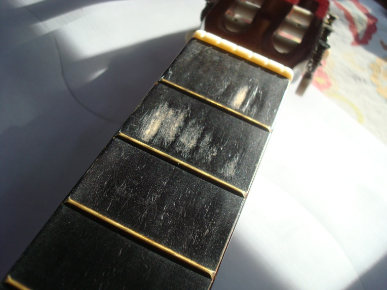My sweet worn neck #paintedguitar