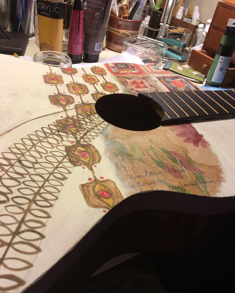 #paintedguitar #decoupage #tissuepaper