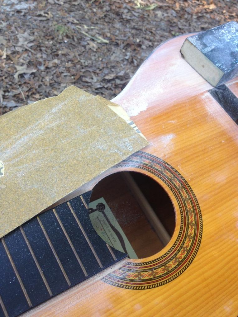 Sanding my guitar #paintedguitar